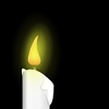 Art commemorating Transgender Day of Remembrance. 2008. A single white candle, lit, in the dark. Yellow light blooms around it, wax slightly accumulates and drips.
